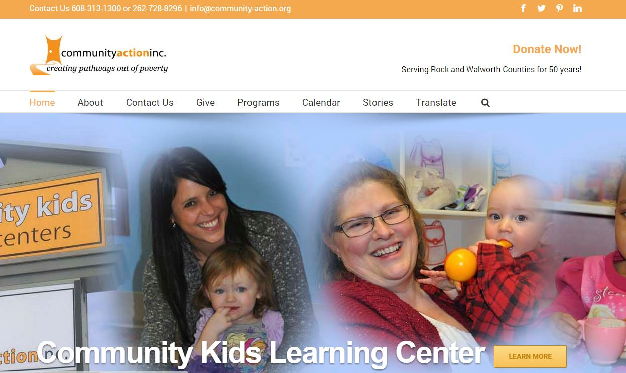 Community Action Website Wisconsin Beloit Walworth Delavan Janesville Mobile Design