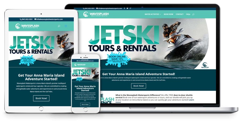 Wavesplash Watersports Anna Maria Island Sarasota Bradenton tourism Website Design Firepoint Media (Custom)